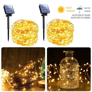Solar String Light 10m 20m 100LED Silver wire Fairy Tale Indoor Outdoor Waterproof led Light Garden Family Ball Party Christmas  MartLion