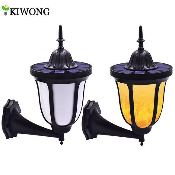 Solar Wall Lights Flickering Flames 96 LED Outdoor Dancing Night Light Waterproof New Lantern Design for Garden Door Patio Yard