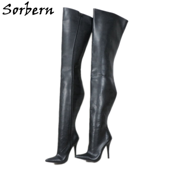 Sorbern 90Cm Long Boots For Guys Crotch Thigh High Fetish Shoes Women Boot Sissy Boy Thick Pointy Toe Crossdresser Boots