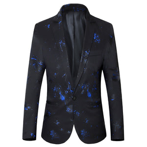 Spring and Autumn Men's Printed Suit Coat Slim Urban Fashion Large Size Multicolor Plant Print M-6XL Color blazer  MartLion