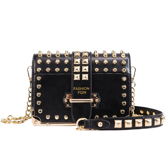 Stud Hand Bags for Women 2019 Black High Quality Leather Crossbody Bags Famous Brand Luxury Designer Shoulder Messenger Bags SAC - Mart Lion  Best shopping website