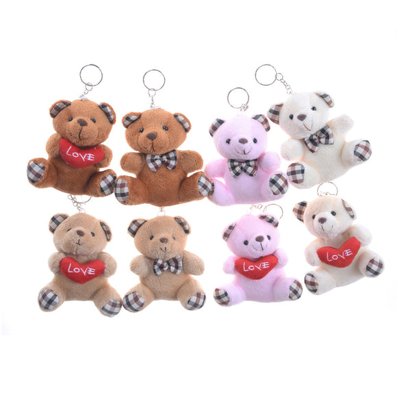 Stuffed Animals Fluffy Bear Keychain 8CM Popobe Teddy Bear Cute Plush Toys Bag  Car Key Holder for Pendant Doll  MartLion