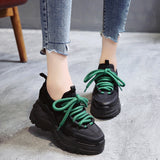Stylish High Platform Shoes 8CM 2019 Spring Autumn Lightweight Design Ladies Shoes Black Casual Shoes Women Sneakers Flats Tenis  MartLion