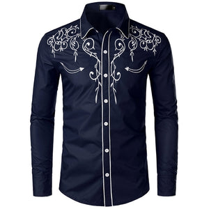 Stylish Western Cowboy Shirt Men Brand Design Embroidery Slim Fit Casual Long Sleeve Shirts Mens Wedding Party Shirt for Male 4  MartLion