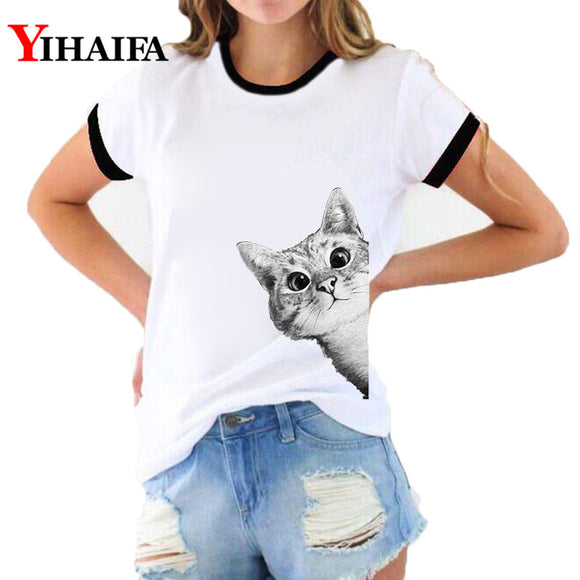 Stylish Women 3D Print T Shirts Cat Graphic Tees Fashion Lady Summer White Casual Unisex Cotton T-shirt Short Sleeve Tops - Mart Lion  Best shopping website