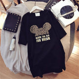 Summer Clothes Women Minnie Mickey Mouse Print Tops Short Sleeve Black Loose Cartoon Plus Size T Shirts Casual Fashion Tee Cute  MartLion