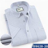Summer Men's leisure striped shirts short sleeve pure cotton high quality regular fit easy care pocket male casual plaid tops  MartLion