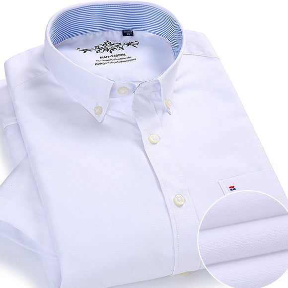 Summer Oxford Cotton Men Shirt Short Sleeve White social Shirt Casual Solid Formal Comfort Button-down Official work Dress shirt  MartLion