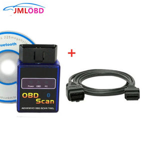 Super ELM327 Bluetooth V2.1 OBD Scanner Auto Diagnostic Tool Tester & 1.5M OBD1 To OBD2 16Pin Male To Female Car Extension Cable  MartLion.com