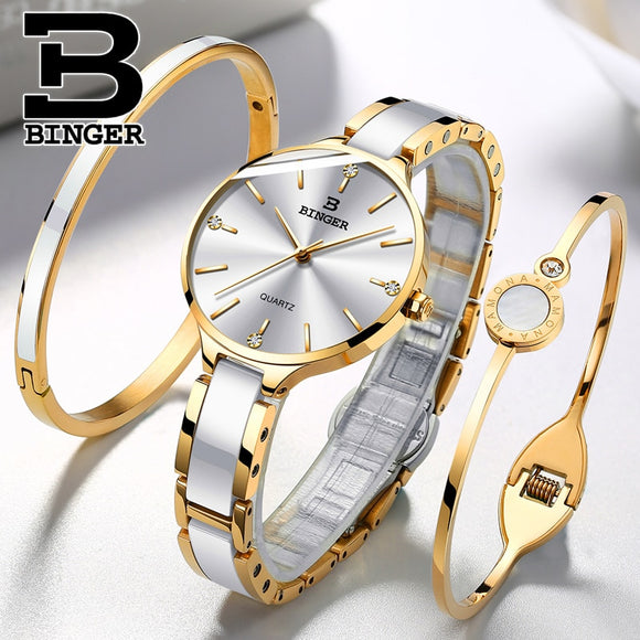 Switzerland BINGER Luxury Women Watch Brand Crystal Fashion Bracelet Watches Ladies Women wrist Watches Relogio Feminino B-1185  MartLion.com