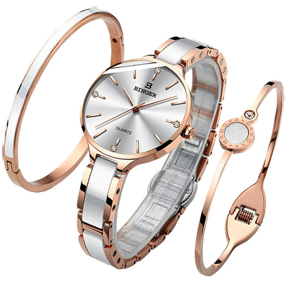 Switzerland BINGER Luxury Women Watch Brand Crystal Fashion Bracelet Watches Ladies Women wrist Watches Relogio Feminino B-11855  MartLion.com