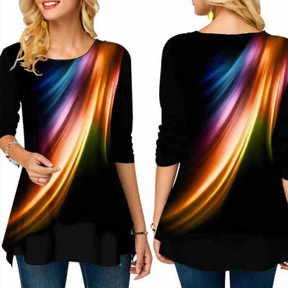 T Shirt Women Fashion Loose Long Sleeved Paint Printing Gothic Christmas Tshirt  Tunic Black Tops Plus Size S-5XL  MartLion
