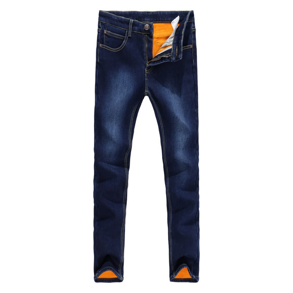Thick Men Winter Stretch Jeans Warm Fleece Men's Classice Jeans Quality Male Blue Denim Jean Pants Size 27-36