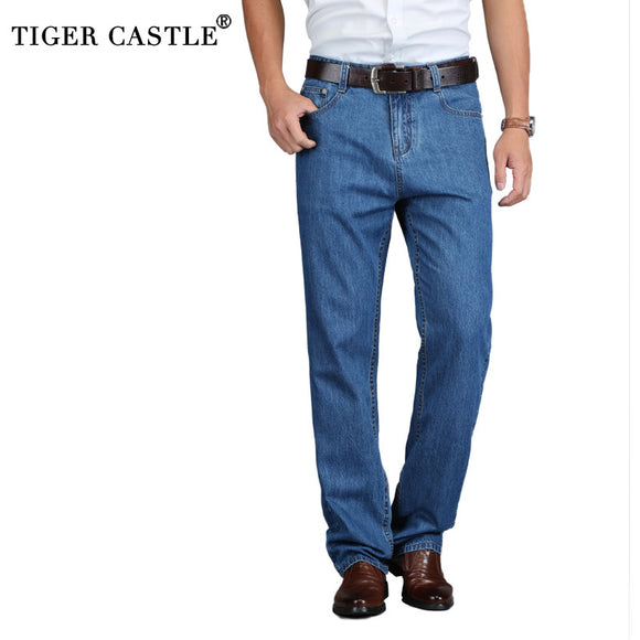 TIGER CASTLE 100% Cotton Summer Men Classic Blue Jeans Straight Long Denim Pants Middle-aged Male Quality Lightweight Jeans - Mart Lion  Best shopping website