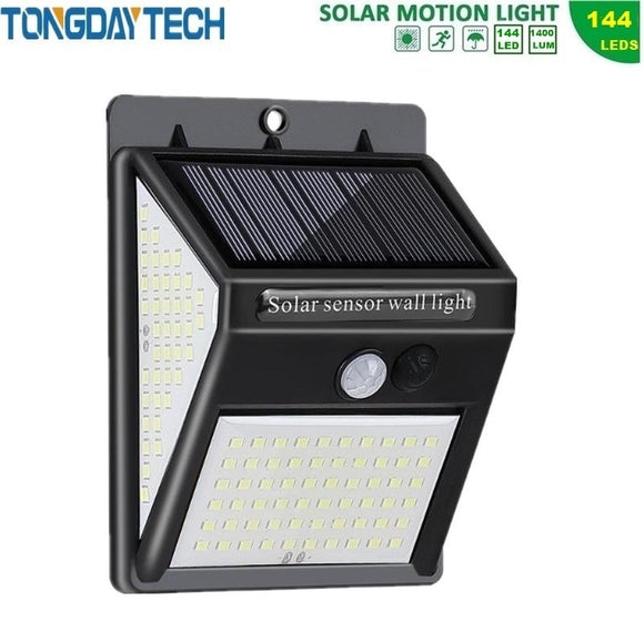 TONGDAYTECH NEW 144 LED Solar Lamp Outdoor Solar Light PIR Motion Sensor Wall Light Solar Powered Garden Light Waterproof IP65