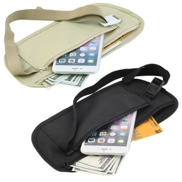 Thin Profile Money Belt Secure Travel Money Belt Undercover Hidden Blocking Travel Wallet Anti-Theft Passport Pouch Fanny Pack - Mart Lion  Best shopping website