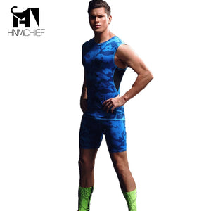 Tights Set Men's Compression Elastic T Shirt Sleeveless Tops Vest men body tummy shaper underwear shapers for men body slimming  MartLion