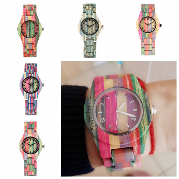 Top Luxury Colorful Wood Watch Women Quartz Full Bamboo Wooden Clock Female Candy Color Bracelet Watch Women's Wrist Reloj Mujer  MartLion.com