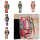 Top Luxury Colorful Wood Watch Women Quartz Full Bamboo Wooden Clock Female Candy Color Bracelet Watch Women's Wrist Reloj Mujer  MartLion