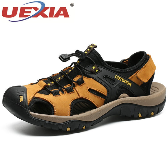 UEXIA Leather Men Sandals New Summer Men Shoes Beach Sandals for Man Fashion Brand Outdoor Casual Shoes Walking Flats Anti-slip  MartLion