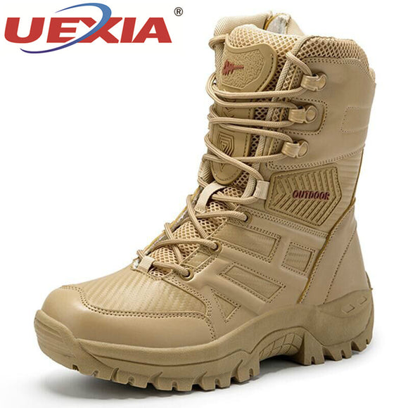 UEXIA New Footwear Military Tactical Mens Boots Special Force Leather Desert Combat Ankle Boot Army Men's Shoes Plus Size 39-47  MartLion