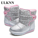 ULKNN Girls Boys Winter Boots Wool Lining For Children Snow Boots Waterproof Oxford cloth Ankle Kids footwear Non-slip Shoes  MartLion