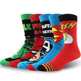 USA Fashion Cartoon Anime Superhero Socks Men Long Happy Art Funky Socks Crazy Cool Flash Superman Captain Avengers Socks Marvel  MartLion