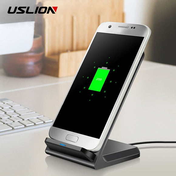 USLION 10W QI Fast Wireless Charger Pad For Samsung Galaxy S10 Plus S8 iPhone 11 Xs Huawei P30 Wireless Super Charger Desktop