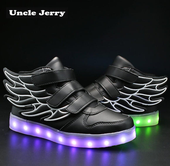 UncleJerry Kids Light up Shoes with wing Children Led Shoes Boys Girls Glowing Luminous Sneakers USB Charging Boy Fashion Shoes  MartLion.com