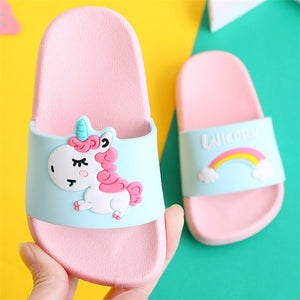 Unicorn Slippers for Boy Girl Rainbow Shoes 2019 Summer Toddler Animal Kids Indoor Baby Slippers PVC Cartoon Kids Slippers  MartLion