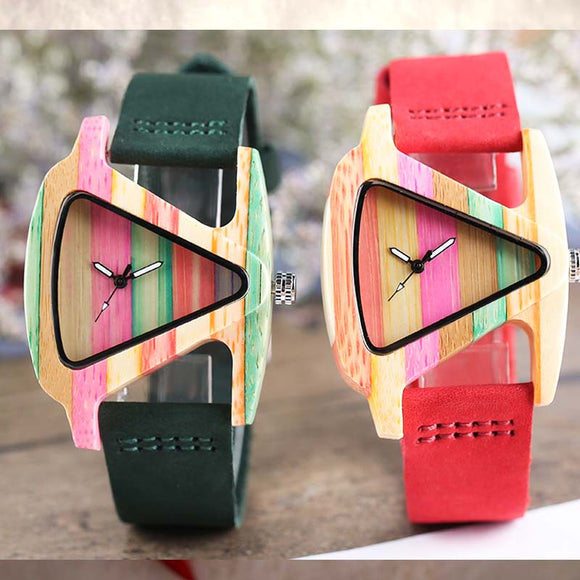 Unique Colorful Wood Watch Creative Triangle Shape Dial Hour Clock Women Quartz Leather Bracelet Watch Women's Wrist Reloj Mujer  MartLion.com