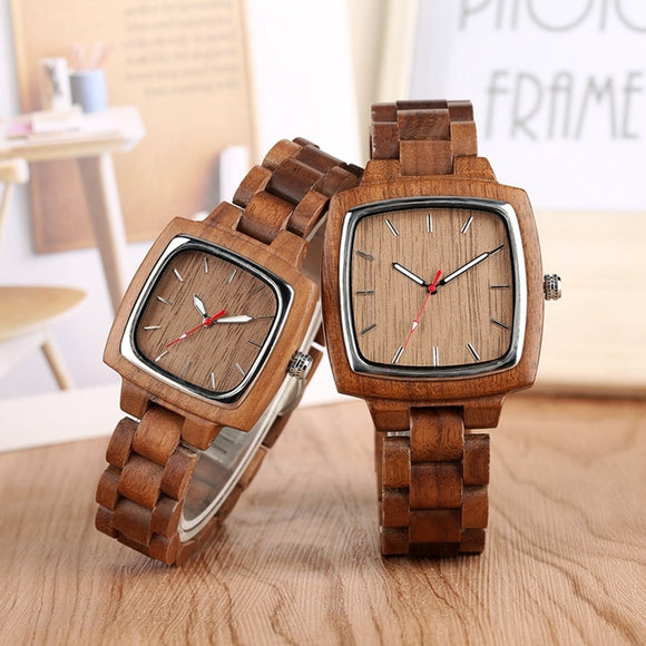Unique Walnut Wooden Watches for Lovers Couple Men Watch Women Woody Band Reloj Hombre 2019 Clock Male Hours Top Souvenir Gifts  MartLion.com