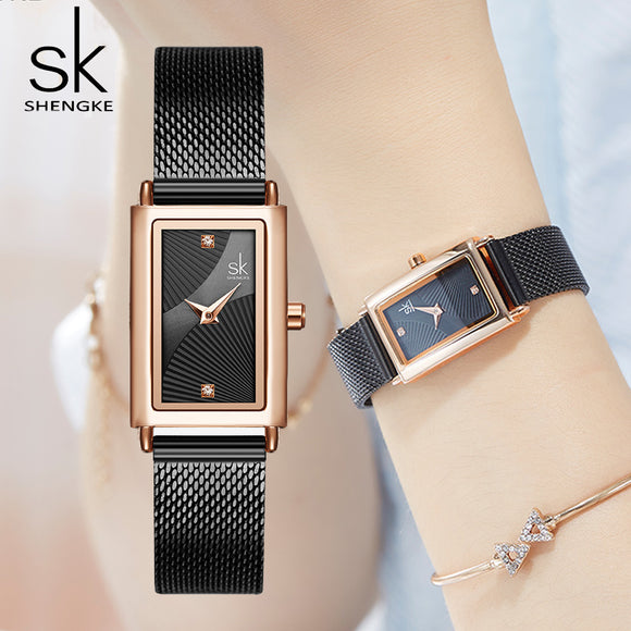 Unique Women Square Watch Rose Gold Lady Elegant Wristwatch SHENGKE Brand Minimalism Casual Dress Watch for Female Gift Clock  MartLion.com