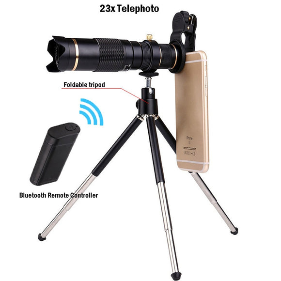 Universal HD 4K 23x Zoom Mobile Phone Telescope Lens Telephoto Lens For all Smartphone Camera Monocular With Bluetooth &Tripod  MartLion