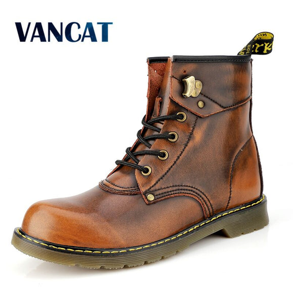 Vancat Brand Cowhide Split Autumn Winter Warm Fur Vintage Motorcycle Boots Male Riding Shoes Men Snow Ankle High Top Men's boots  MartLion