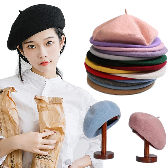 Vintage Plain Beret Cap Beanie Hat French Style Women Girls Wool Warm  Hat Femme Hats Caps Street Fashion  MartLion