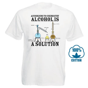 Vintage Tee Shirts Alcohol Is A Solution Chemistry Funny Science Drunk Drinker Printed T Shirt Men'S Fashion Tees Hipster Tops - Mart Lion  Best shopping website