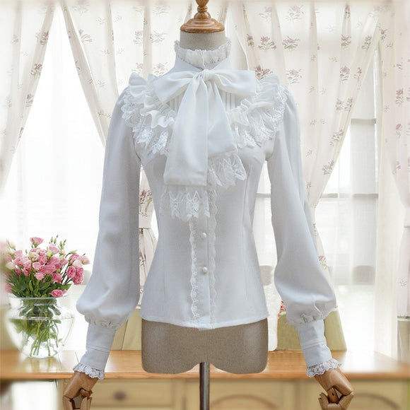 Vintage Women's Lolita Shirt Gothic Chiffon Ruffle Blouse Long Sleeve Blusas Black/White/Navy Blue/Burgundy - Mart Lion  Best shopping website