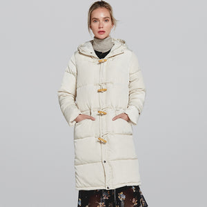 Vogue winter jacket Women's wear Hooded long cotton padded solid color padded cotton warm bread service female  MartLion