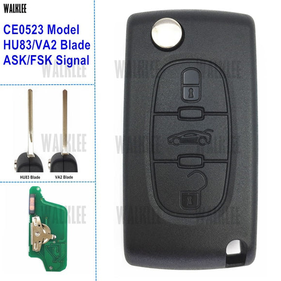 WALKLEE Remote Key 3 Buttons Fit for Peugeot 407 308 307 208 207 Partner Keyless Entry 7941 Chip (CE0523, ASK/FSK, VA2/HU83)  MartLion