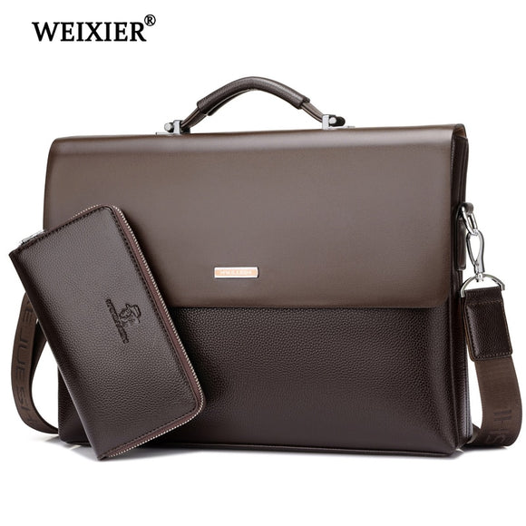 WEIXIER Brand Men High Quality Microfiber Synthetic Leather Tote Fashion Male Bag Messenger Business Handbag Laptop Shoulder Bag  MartLion.com