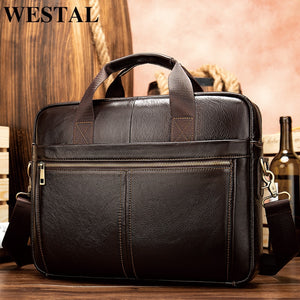 WESTAL briefcase messenger bag men's genuine leather 14'' laptop bag men's briefcases office business tote for document 8572  MartLion.com