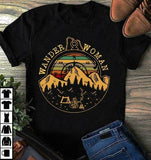 Wander Woman Camping Hiking Mountain Vintage T-Shirt Black Men Cotton Cool Casual pride t shirt men Unisex Fashion tshirt  MartLion