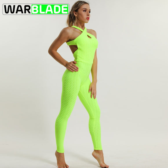 WarBLade Cross Criss Tracksuit for Women 2018 Running Sport Suit Fitness Clothing Athleisure Siamese Yoga Set Sportswear Sale  MartLion