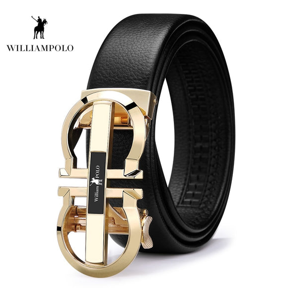 Williampolo 2019 Luxury Brand Designer Leather Mens Genuine Leather Strap Automatic Buckle Waist Belt Gold Belt PL18335-36P  MartLion