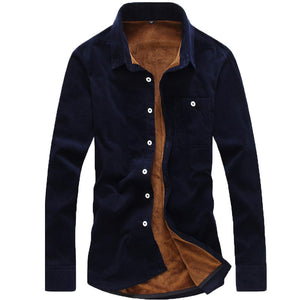 Winter velvet shirt men's thick velvet warm long-sleeved lapel casual thickening flannel lining warm casual shirt large size 5XL  MartLion.com