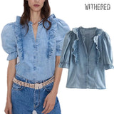 Withered high street Cascading ruffles puff sleeve denim blouse women blusas mujer de moda 2019 shirt womens tops and blouses  MartLion