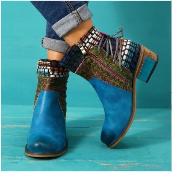Women Ankle Boots Mid Med Heels Round Toe Bohemia Shoes Woman Chaussure Zapatos Mujer Gladiator PU Leather Ethic Booties 2020