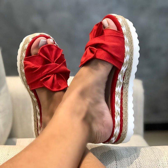 Women Bowknot Slippers 2020 Summer Casual Beach Muffin Slip On Platform Ladies Sandals Dress Party Peep Toe Female Sandals  MartLion