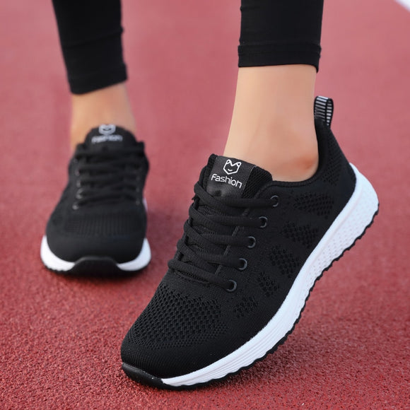 Women Casual Shoes Fashion Breathable Walking Mesh Lace Up Flat Shoes Sneakers Women 2019 Tenis Feminino Pink Black White  MartLion